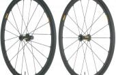 A pair of road bike wheels